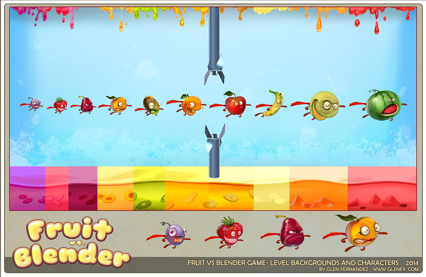 Level backgrounds and characters.