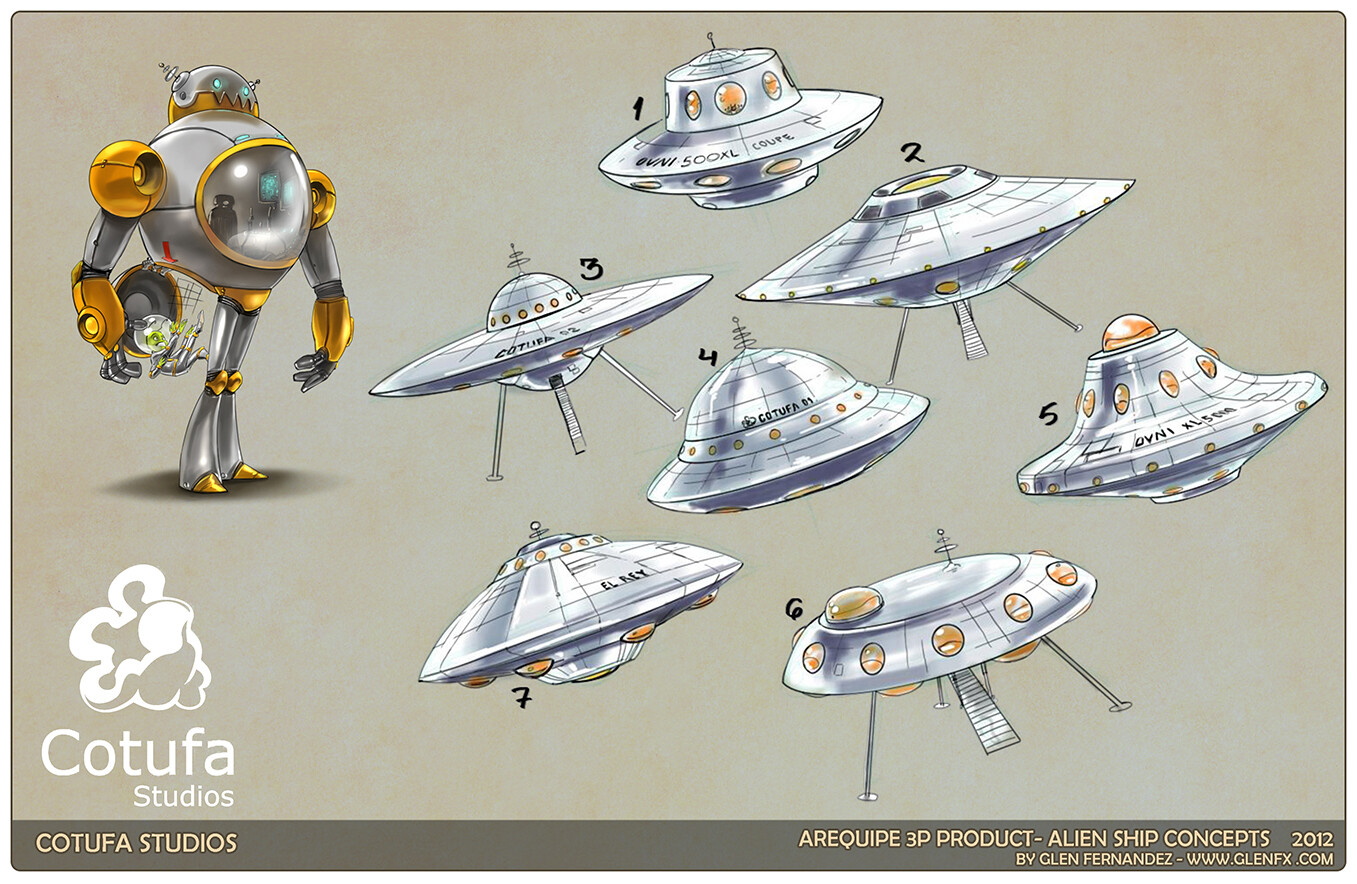 Concepts for the ship and Robot.