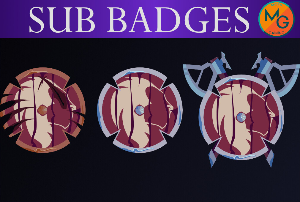 2D vector art with three of the sub badges that were created out of this