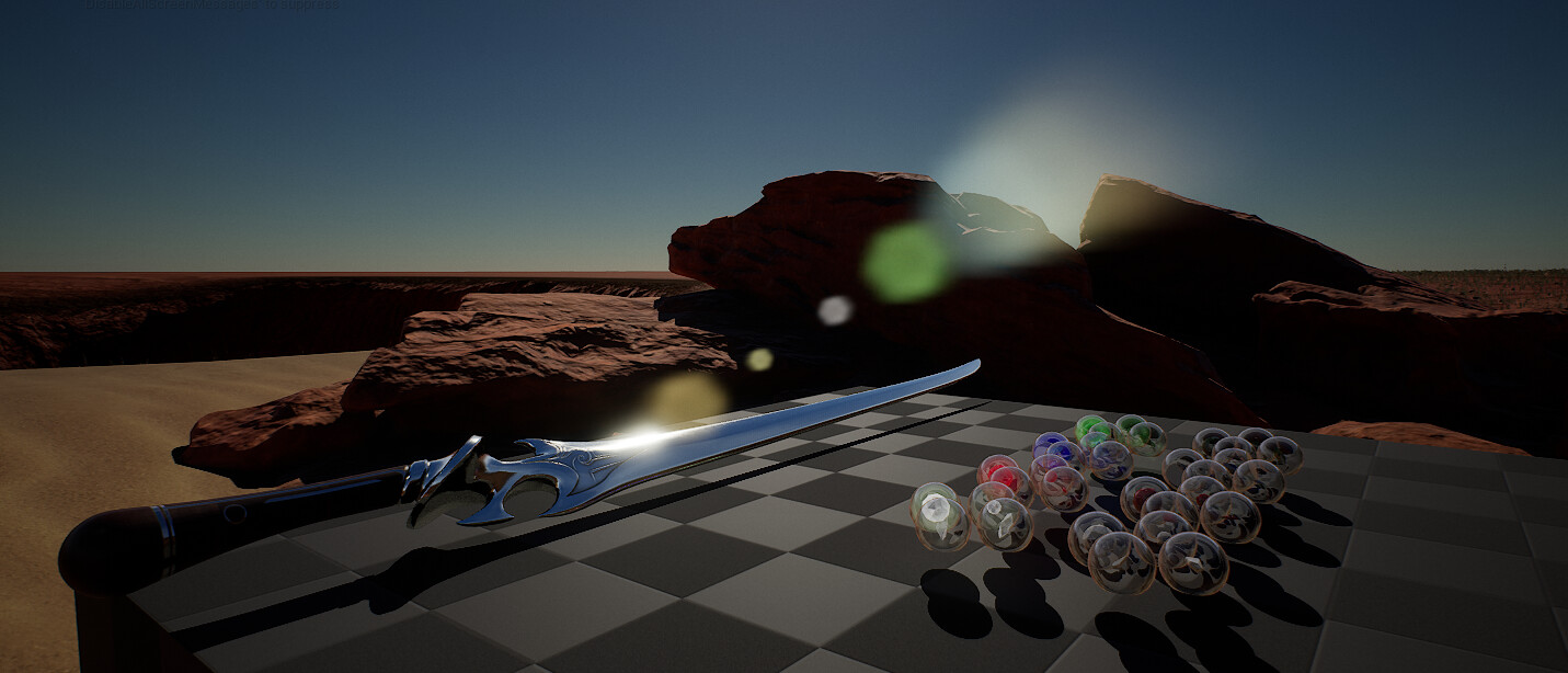 Blade and some Spheres with a background of desert style environment.