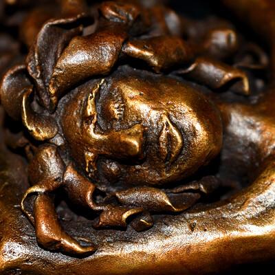 Elana lederman resize bronze figure face close up