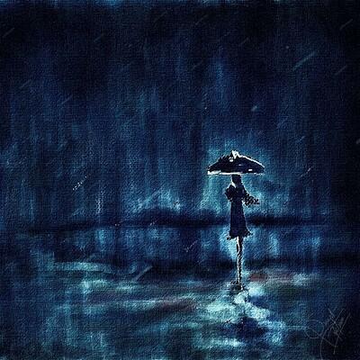 Surajit sen me rain digital canvas painting surajitsen june2020a