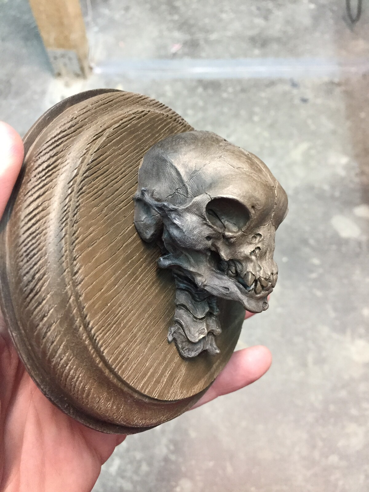 The original skull  was carved from polymer clay. This creature is made of bronze metal cold casting. Design and sculpture head made by Tomek Radziewicz. Collectible sculpture for horror and fantasy fans.