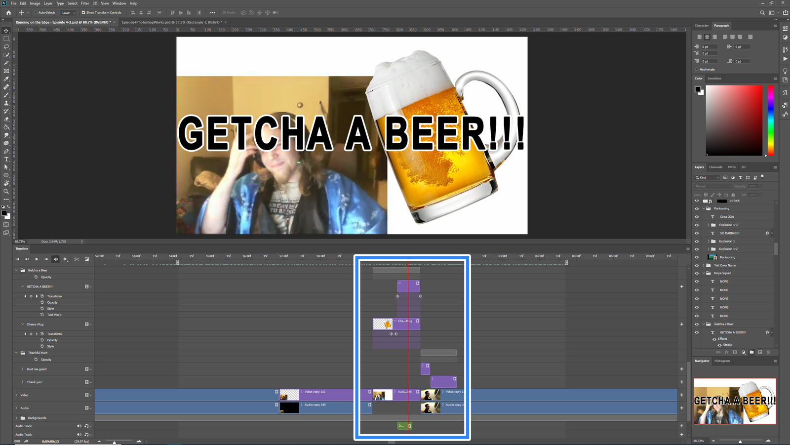 """The """"Getcha A Beer"""" visual effect within Photoshop video editor"""