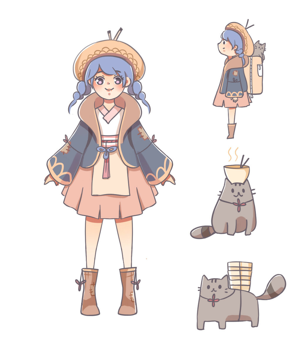Concept of the girl and the cat