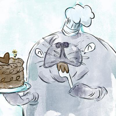 Miriam gibson manatee baking a cake