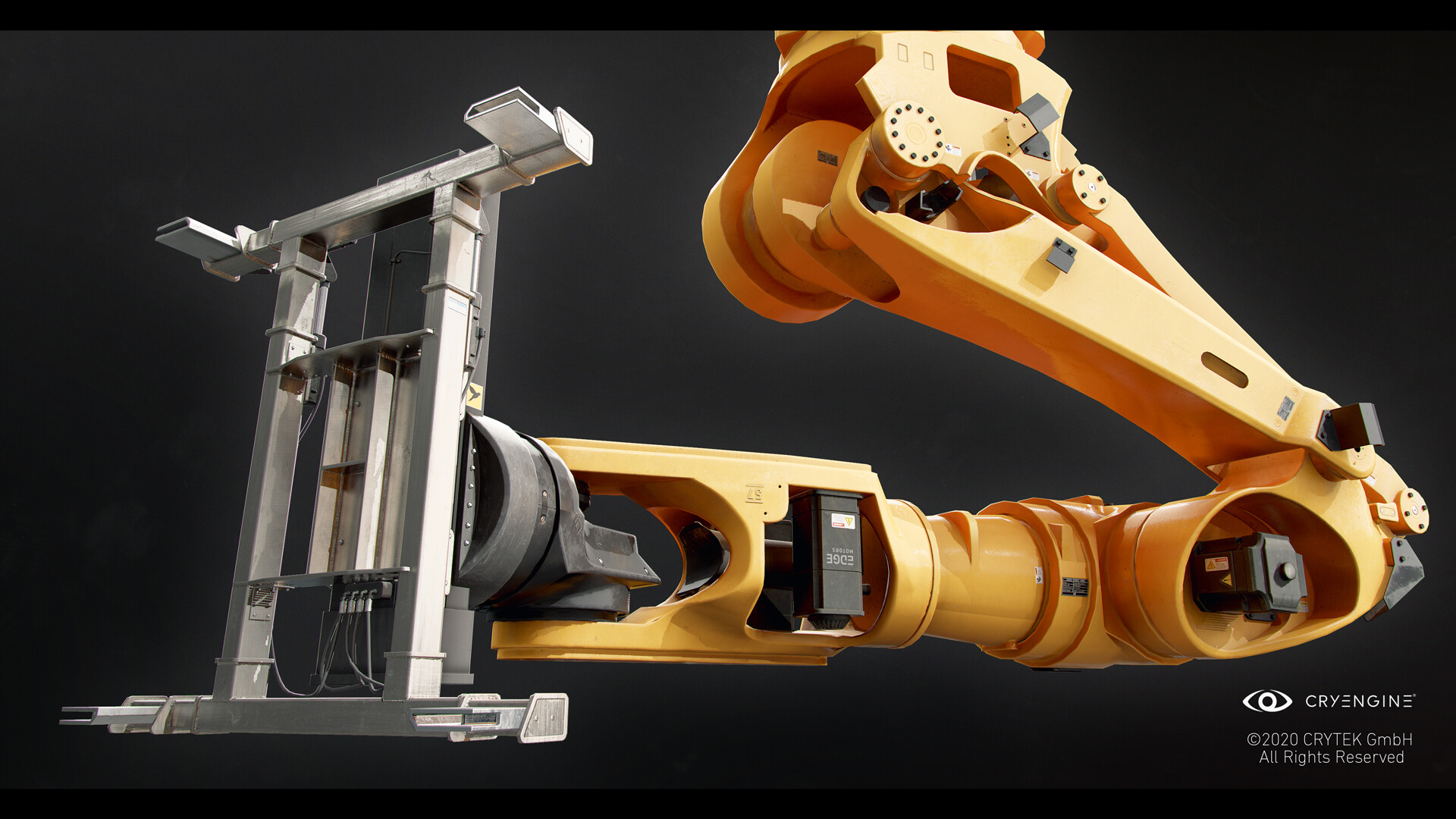 Robot arm including steel plate for laser cutting