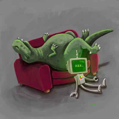 Matthew daday robot dinosaur 01 at rest