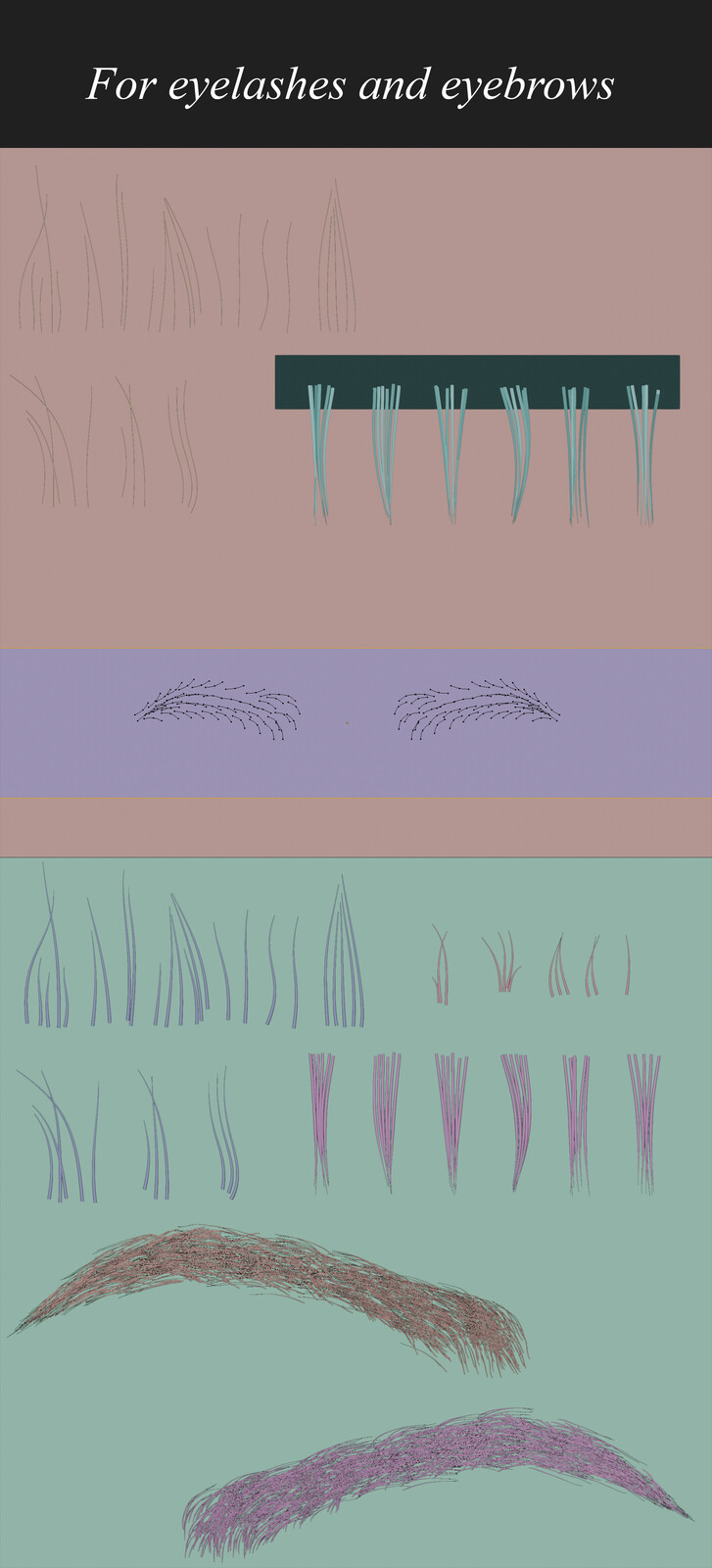 eyebrow particle system for baking