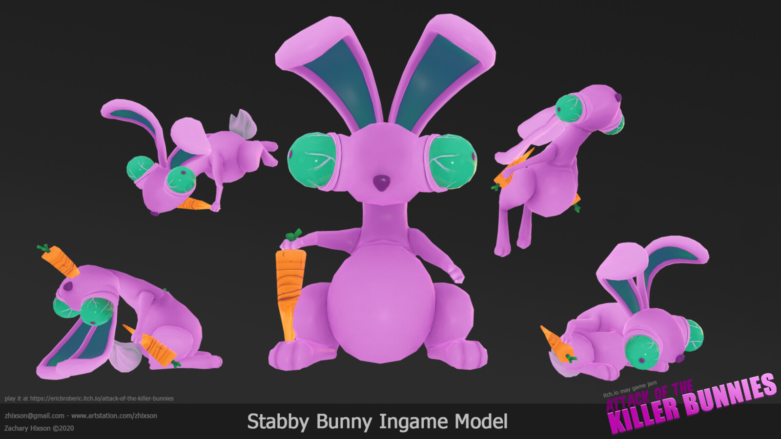 This is the in-game model of the bunny. The bunnies that spawn in game all have randomly sized eyes and ears which can be super creepy and hilarious. Retopo was done in 3D-Coat,  textured in photoshop, and rigged and animated in 3DS Max.