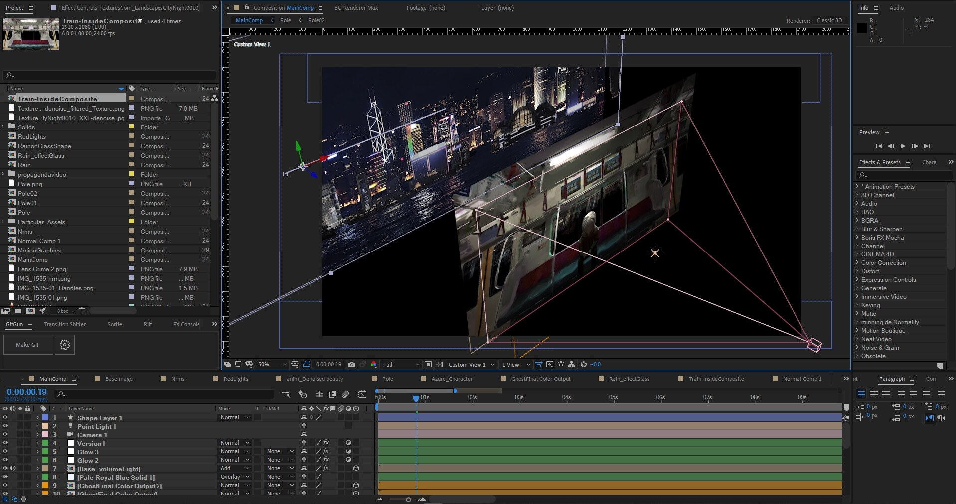 AfterEffects scene. This was never intended to be a professional job... just for fun... hence the mess!