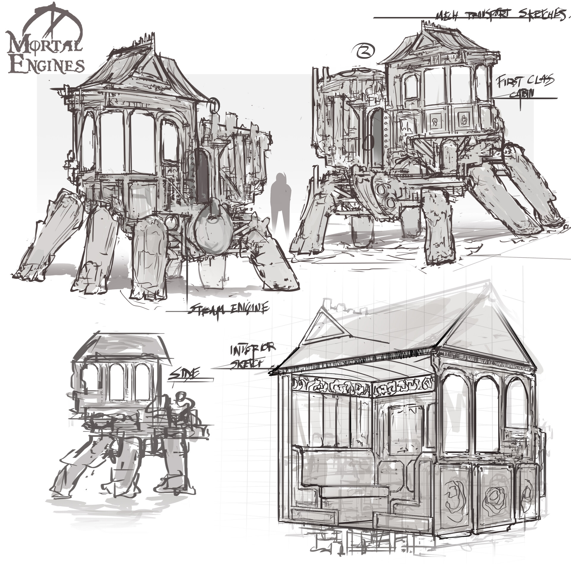 Sketches of some steampunk style mech caravans. Terrain in the town would be too unstable and unbalanced for wheels so had to be fitted with alternative.