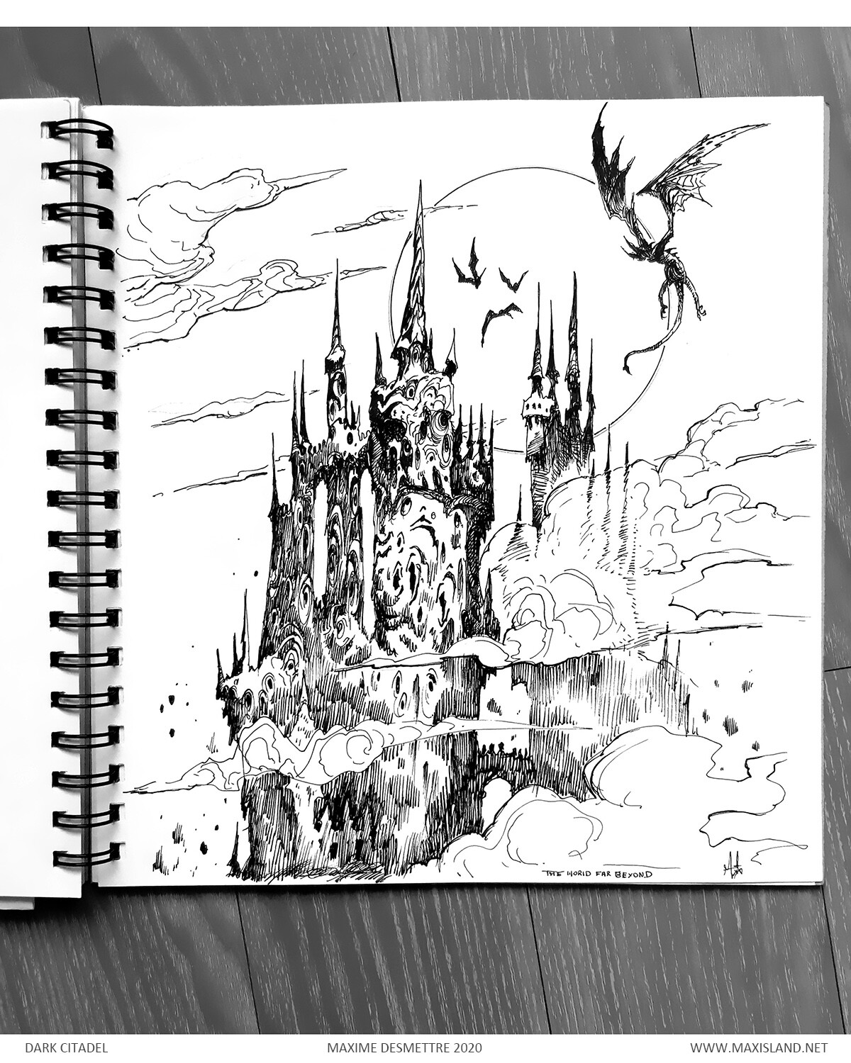 Background sketch on paper, to be combined with a second sketch for the foreground