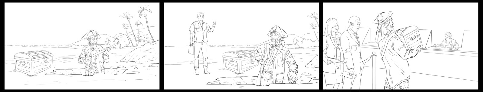 Various storyboard sequences done for ads
