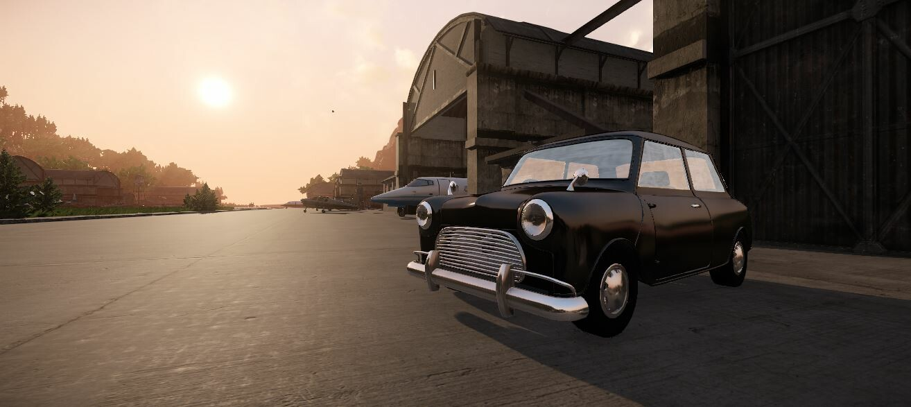 Screenshot of the finished vehicle, a 60's era Cooper.