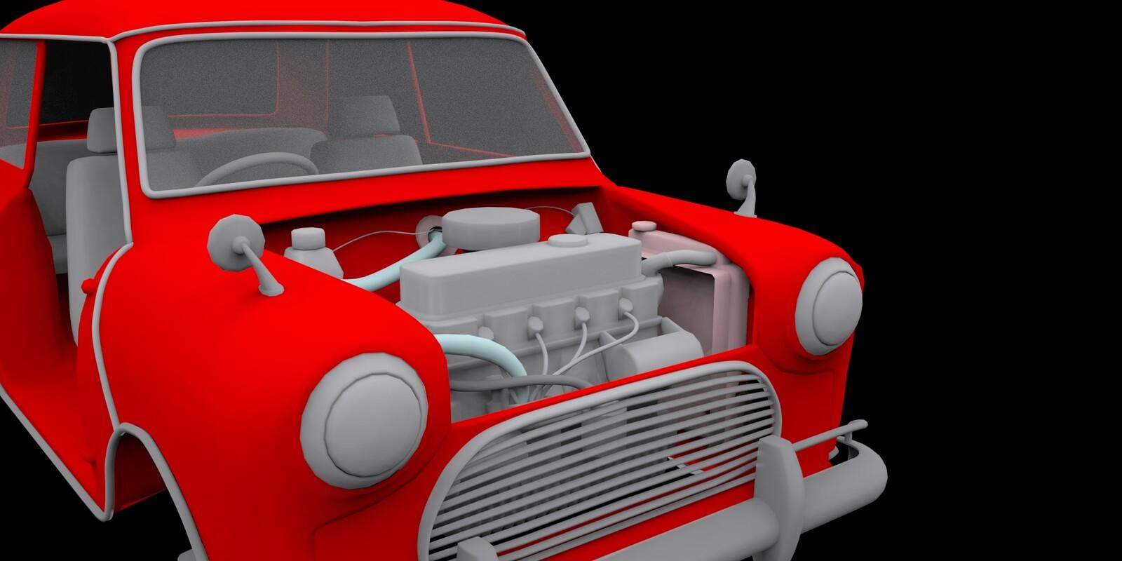 Finished modeling the engine.