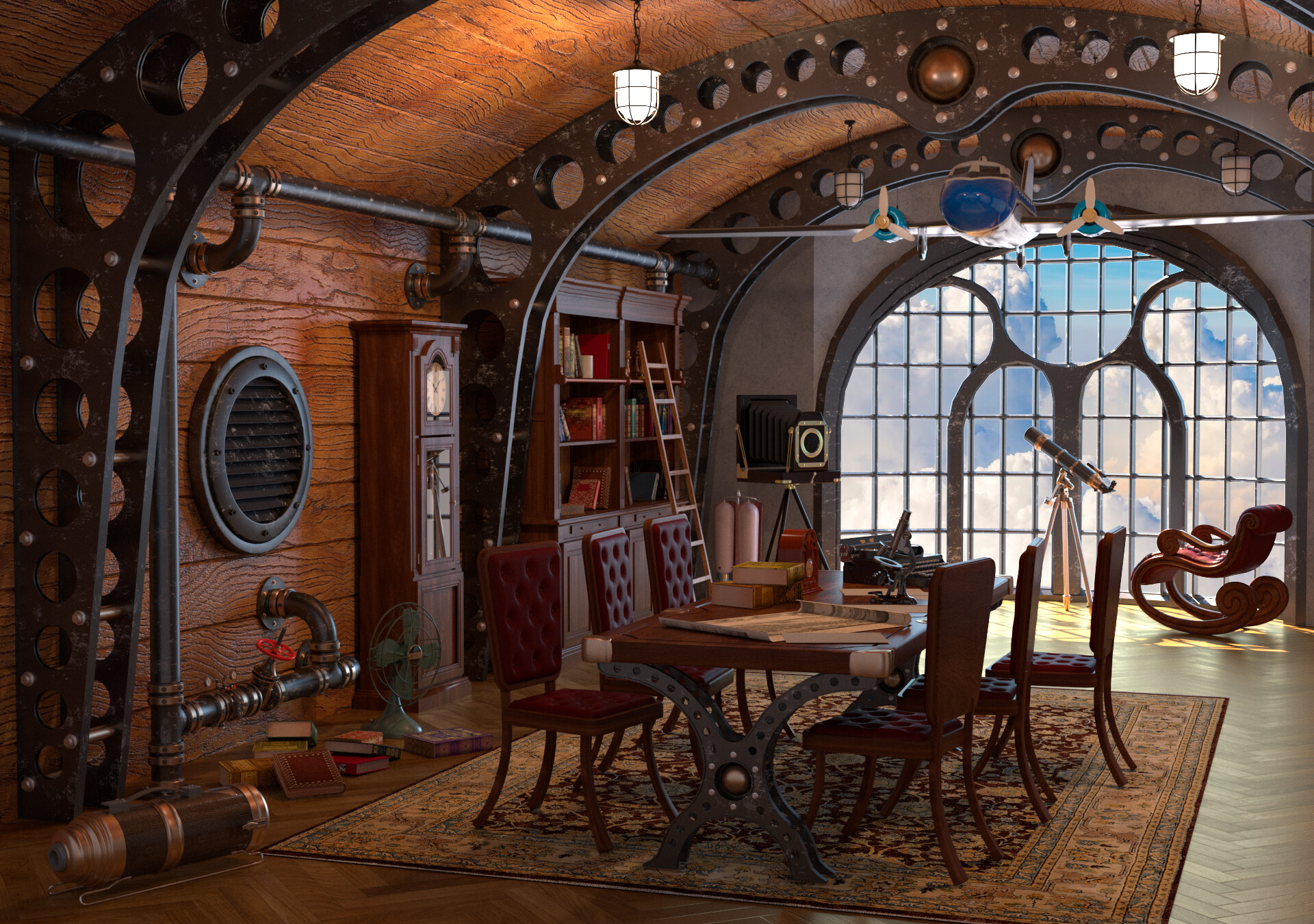 Steampunk Style Meeting Room Interior, Steampunk Living Room