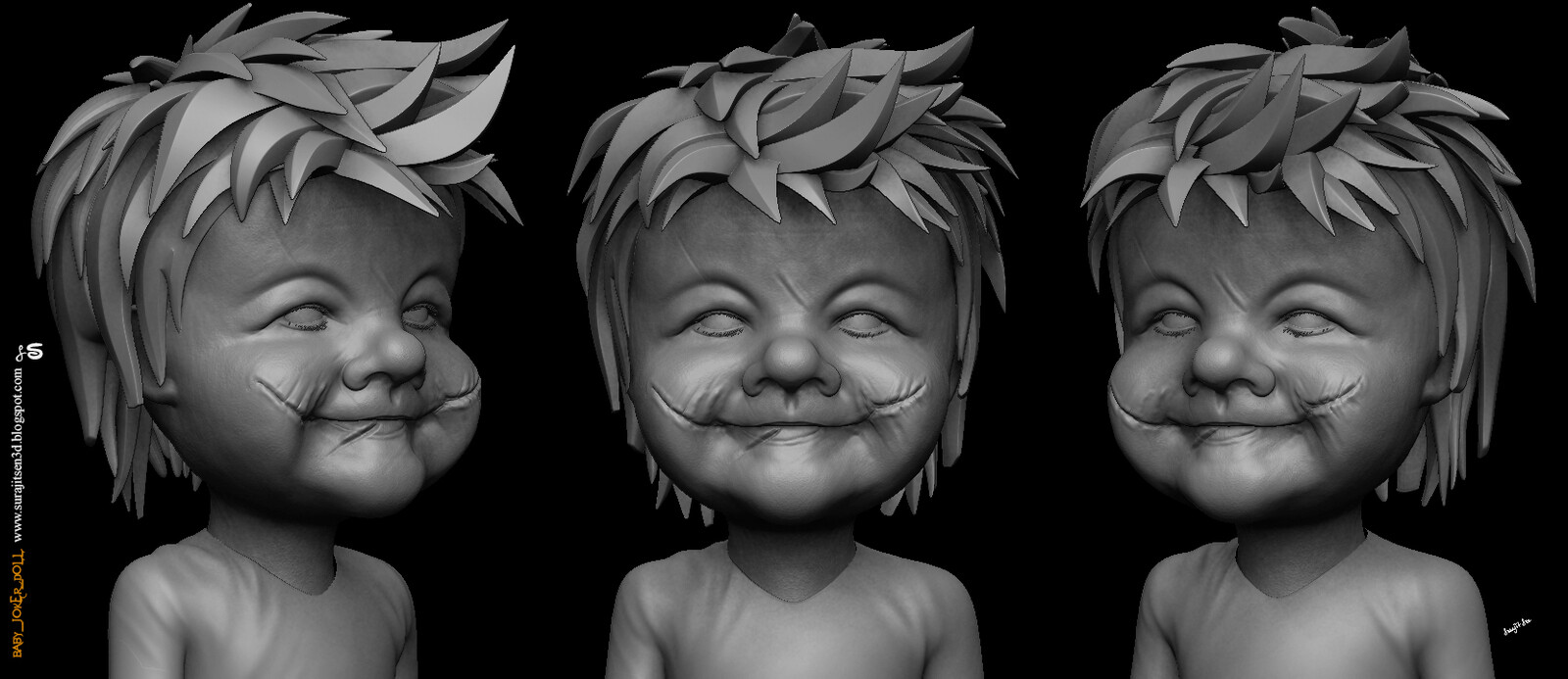 Baby_Joker_Doll CG character. My free time creation. Study work. Tried to make a form of my thoughts.
