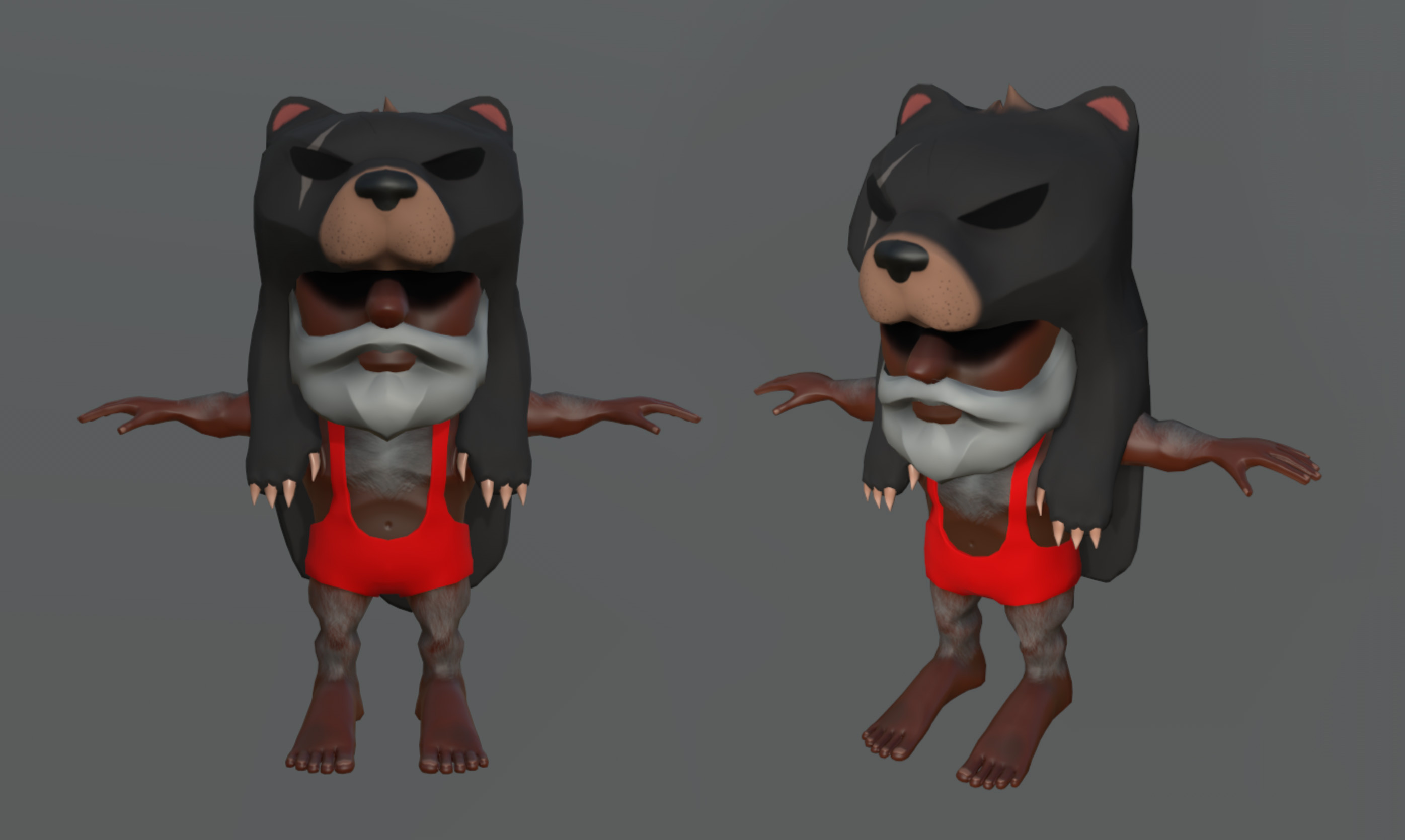 Bear Guy, the character was modeled based on a mix of Barry Briar and Abiha Mati concept arts
