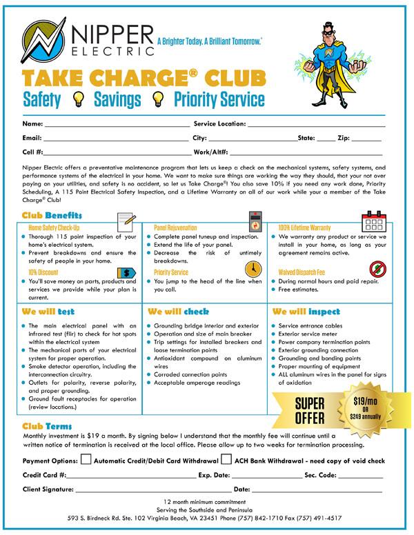 Take Charge Membership form