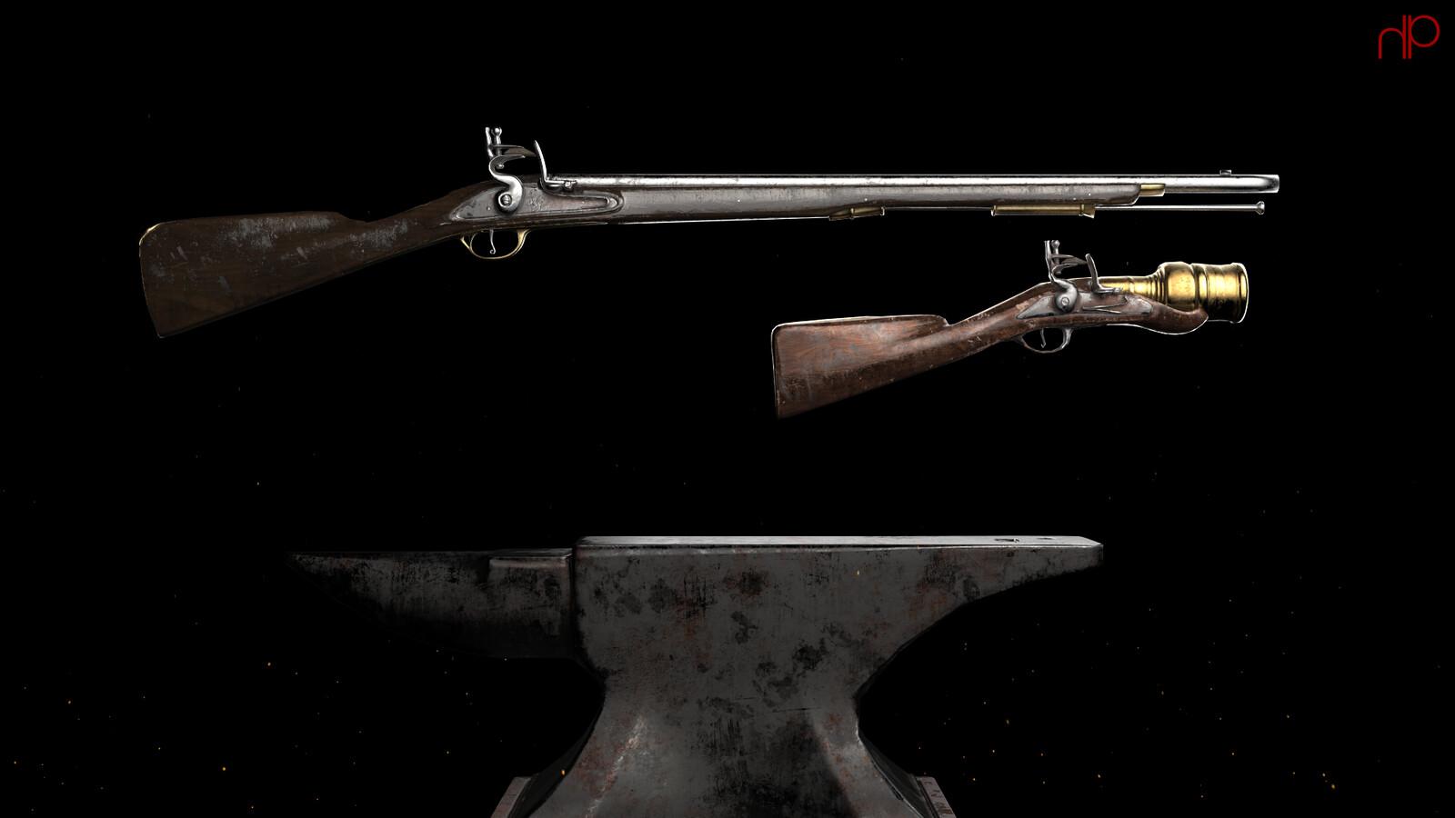 3D Modelling: Flintlock Rifle & Grenade Launcher