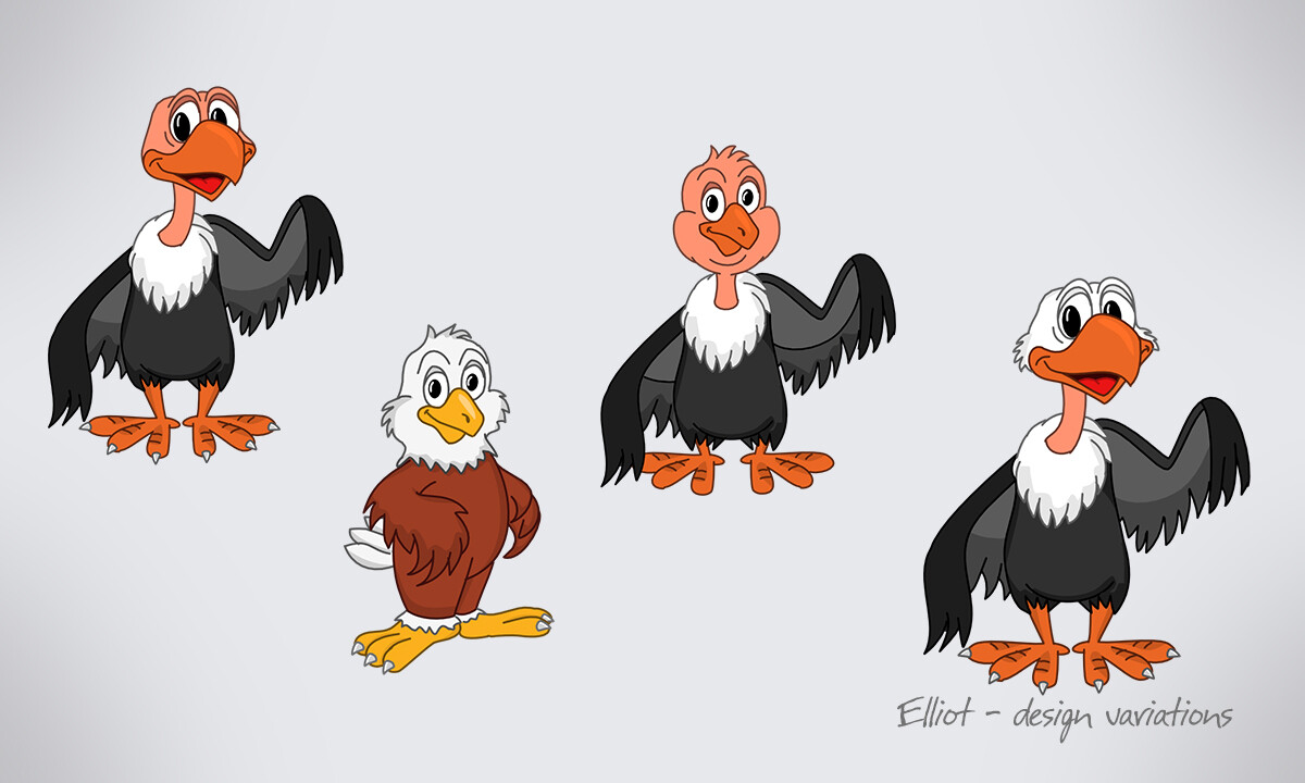 Different versions of Eliot the Eagle