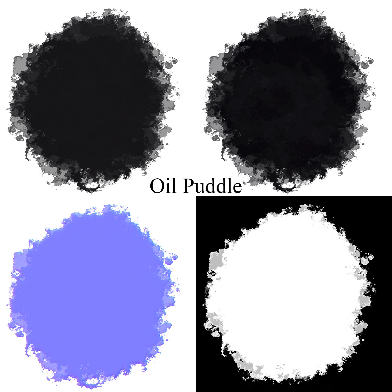 Albedo, Roughness, Normal, and Opacity maps for the oil puddle decals