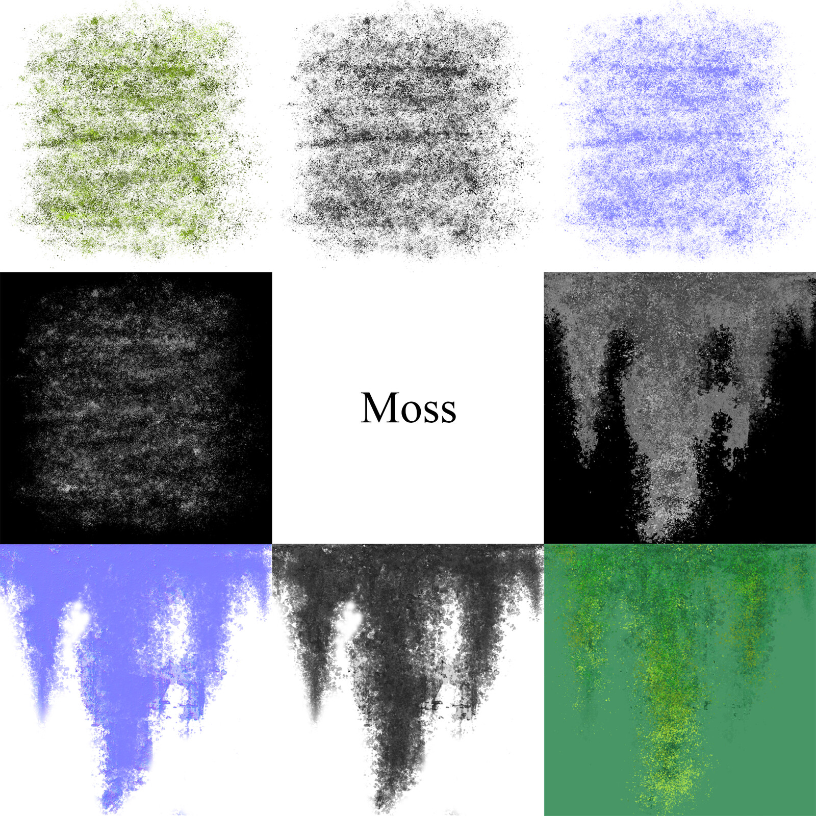 Albedo, Roughness, Normal, and Opacity maps for both the decal and hanging versions