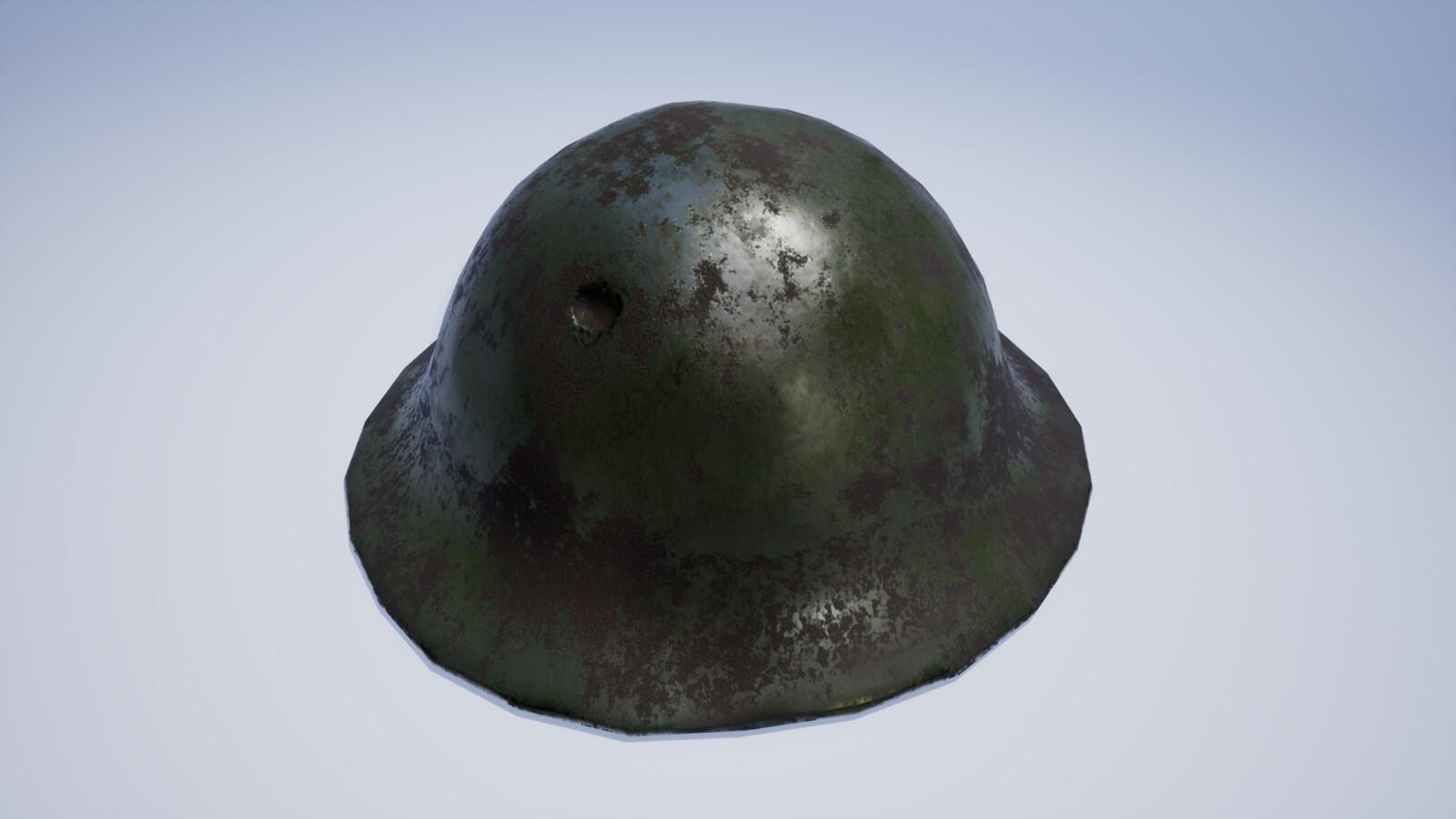 Distressed painted steel army helmet covered in mud