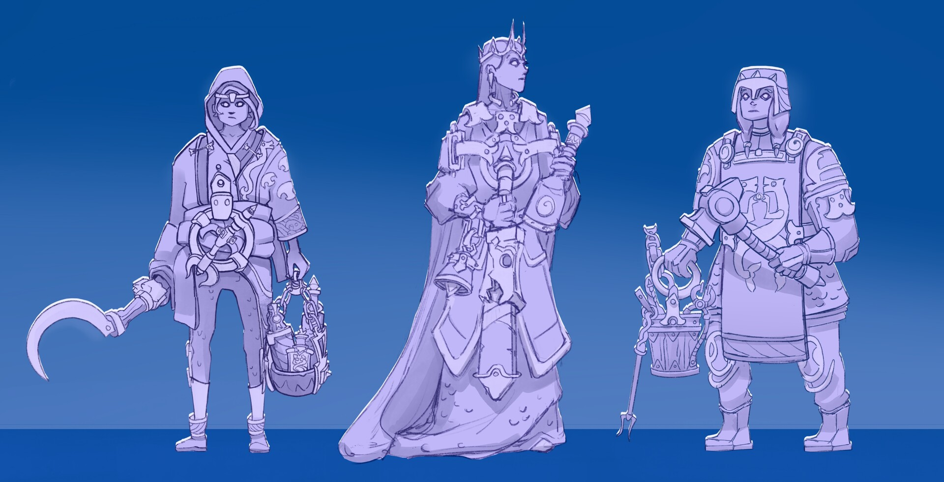 The Potion seller, the Queen and the Smith.
