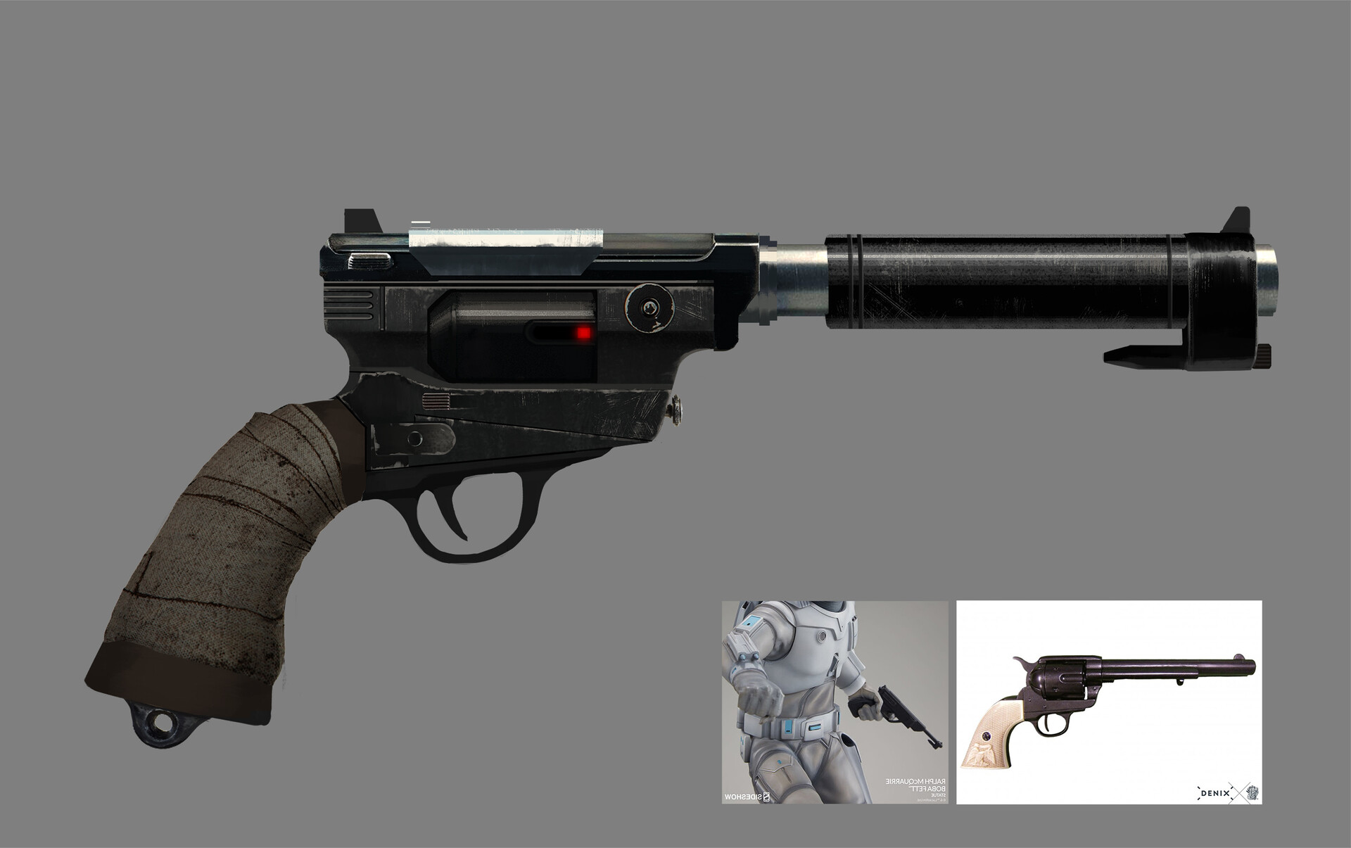 A blaster that Boba picks up somewhere, I blended a 45 Peacemaker with some elements of an old blaster that Boba had in one of his prototypes I think.