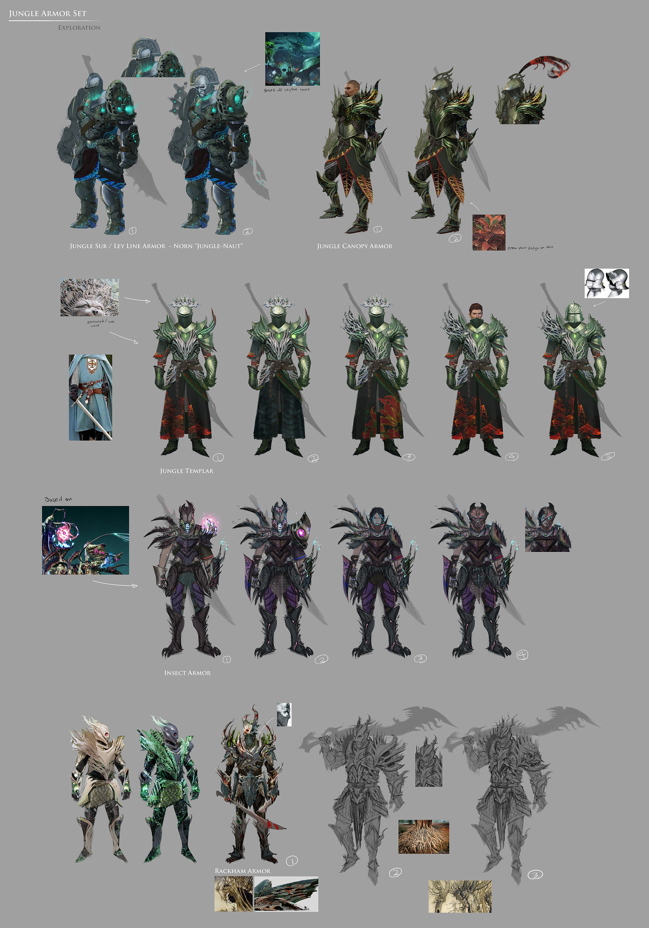 I was given a brief early on about an armor set based on the leyline environment.  These were some explorations.