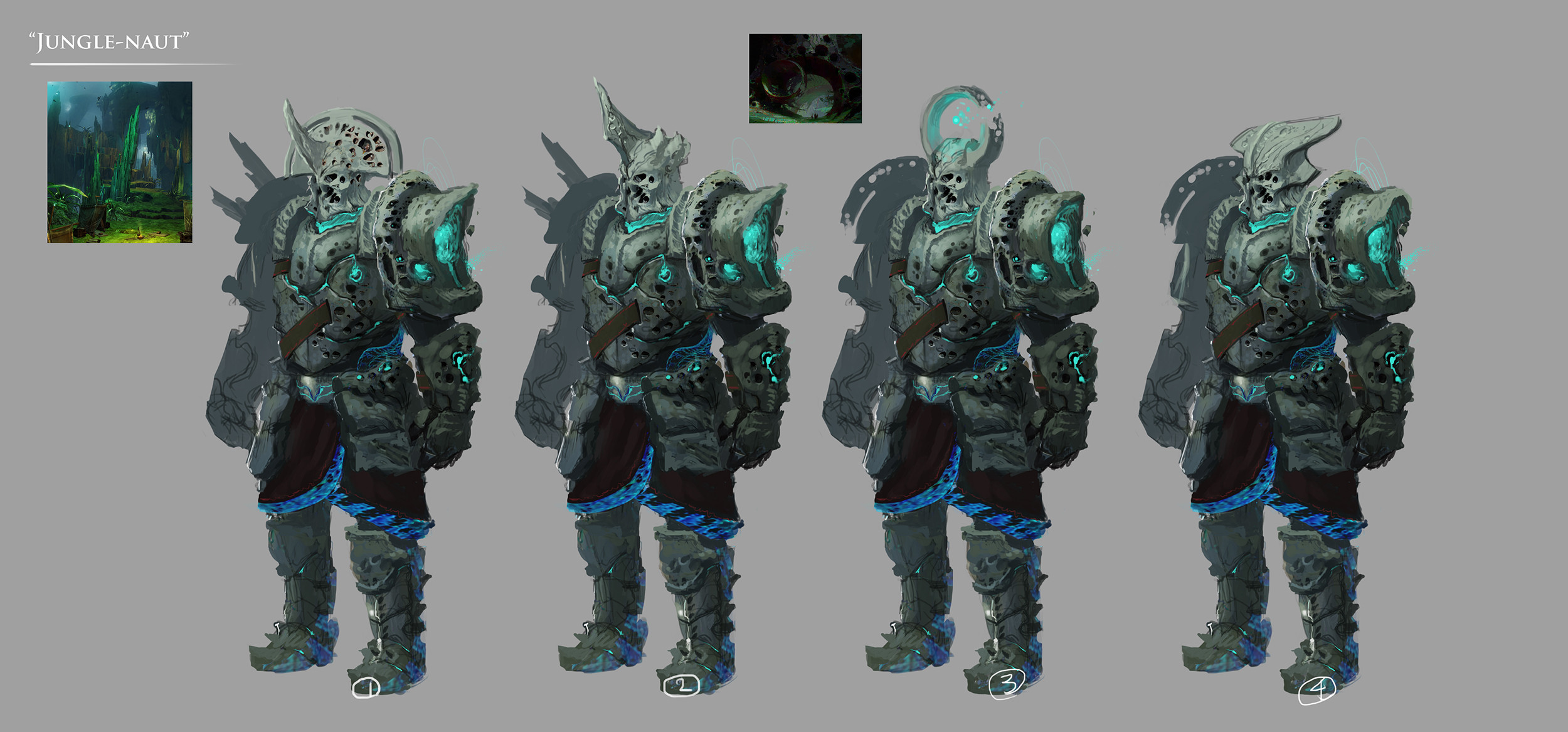 Some helmet designs for the heavy version.