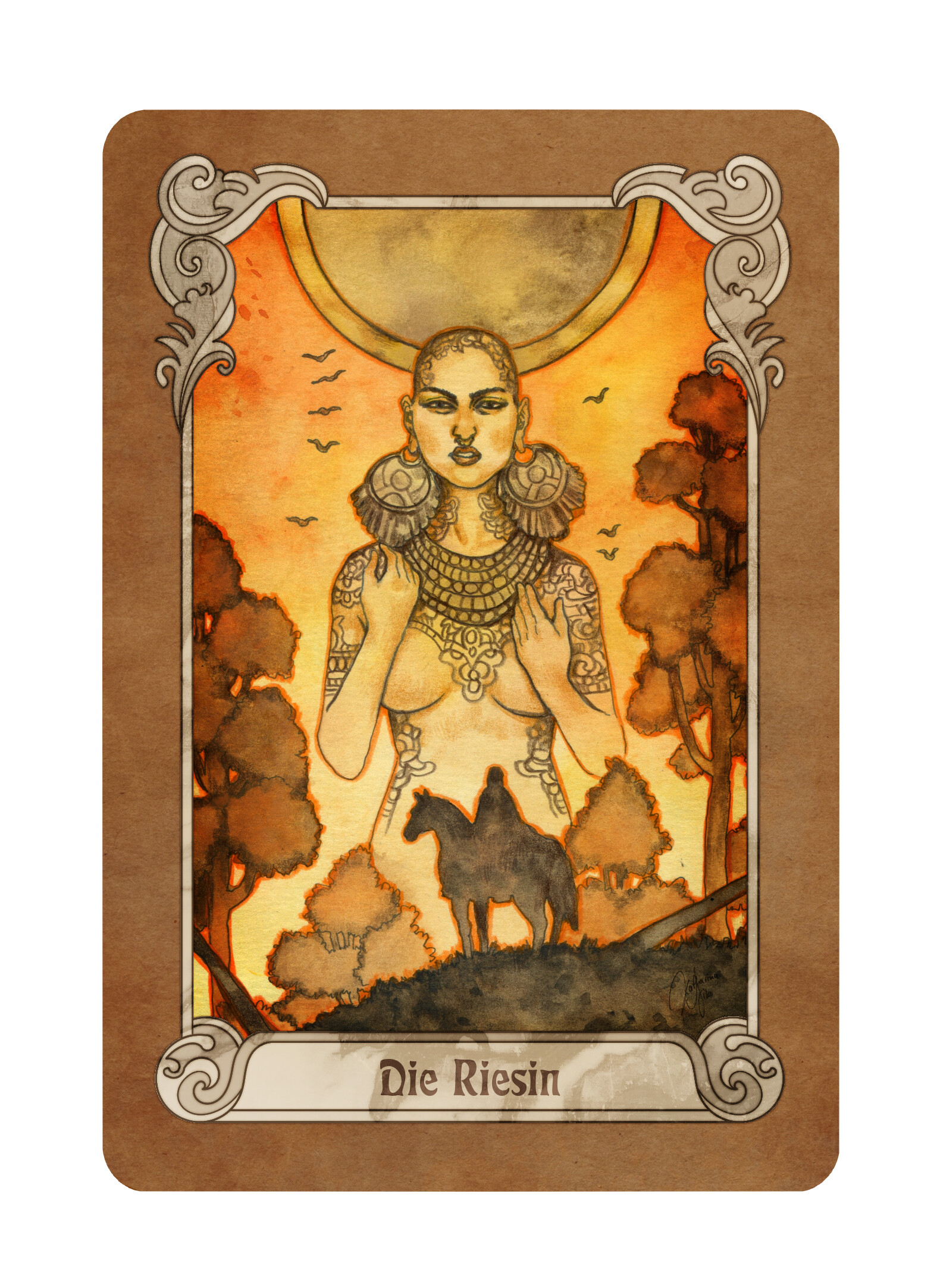 "The card ""The Giantess"" (""Die Riesin"" in German)"