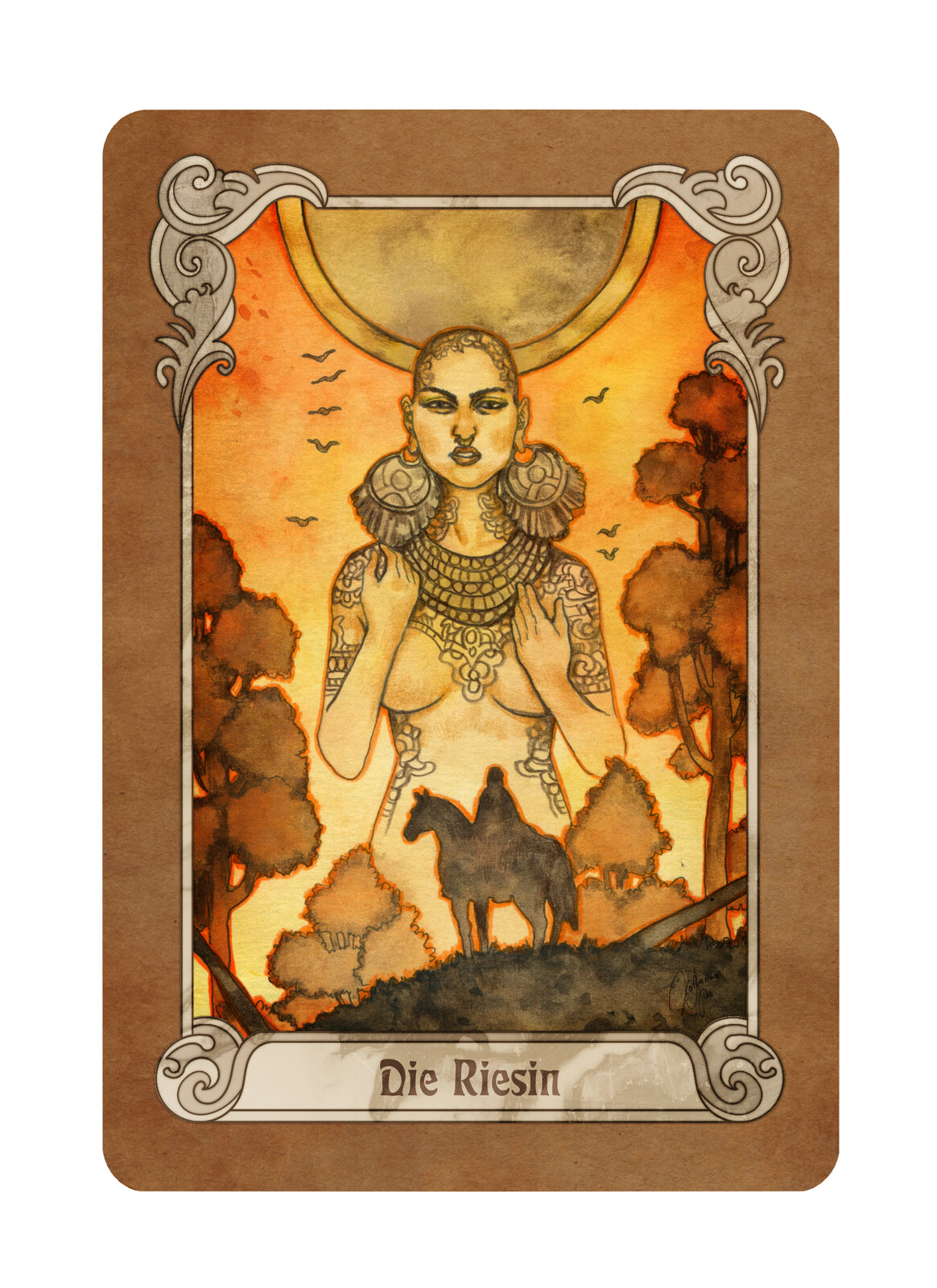 "The card ""The Giantess"" (""Die Riesin"" in German)"