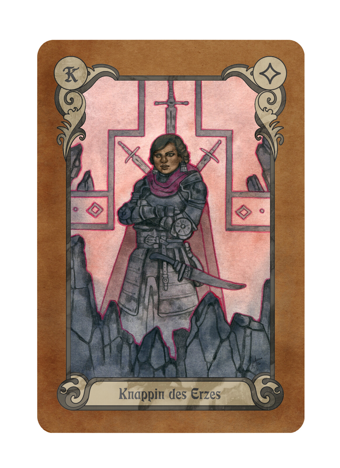 "The card ""Squire of Ore"" (""Knappin des Erzes"" in German)"