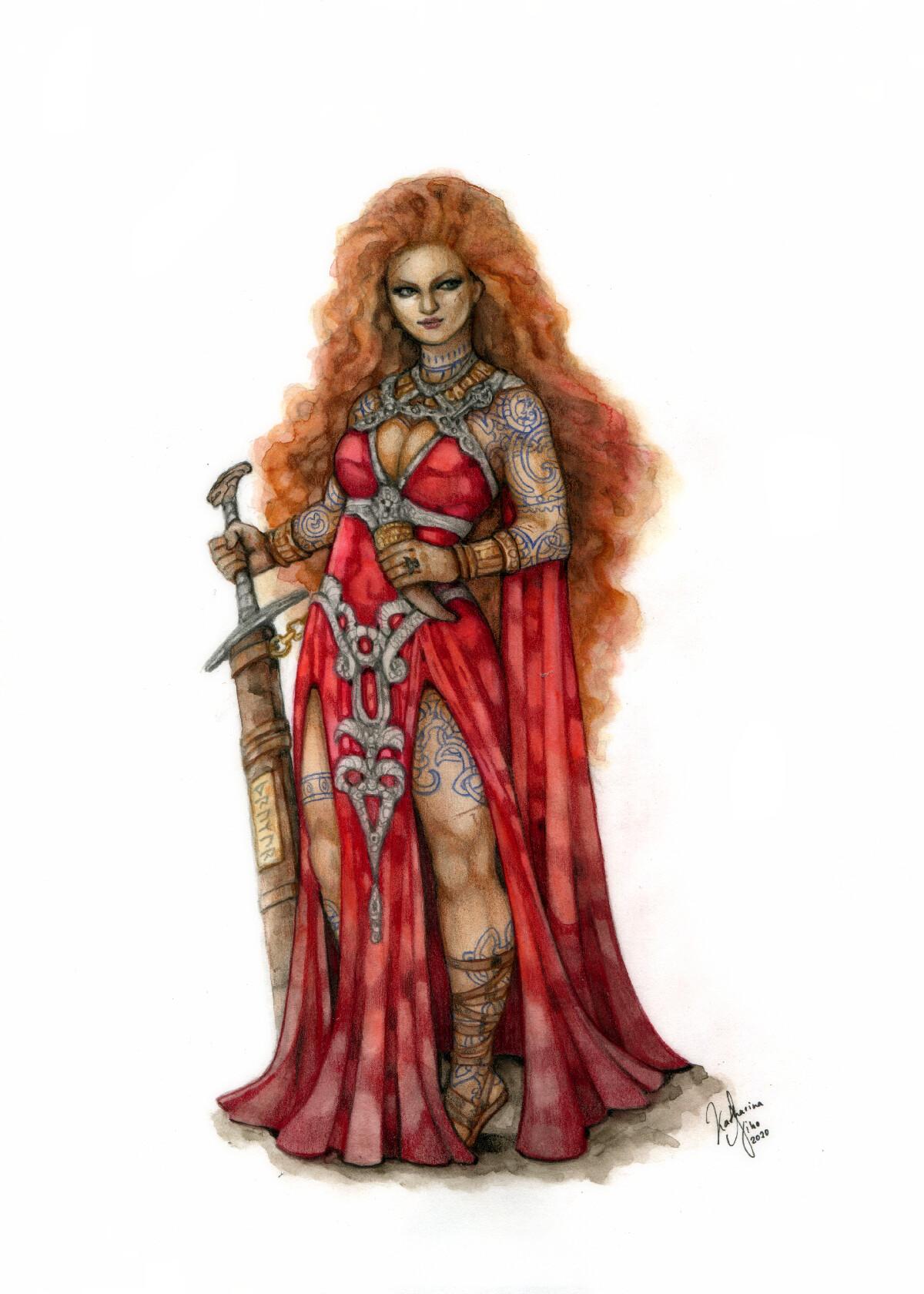 Warrior Priestress in Silk Dress