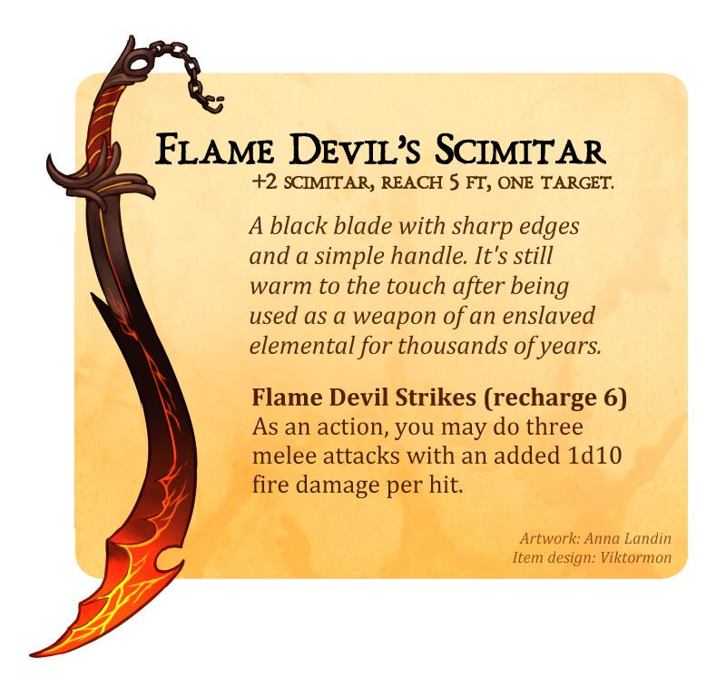 flame devil's scimitar item card