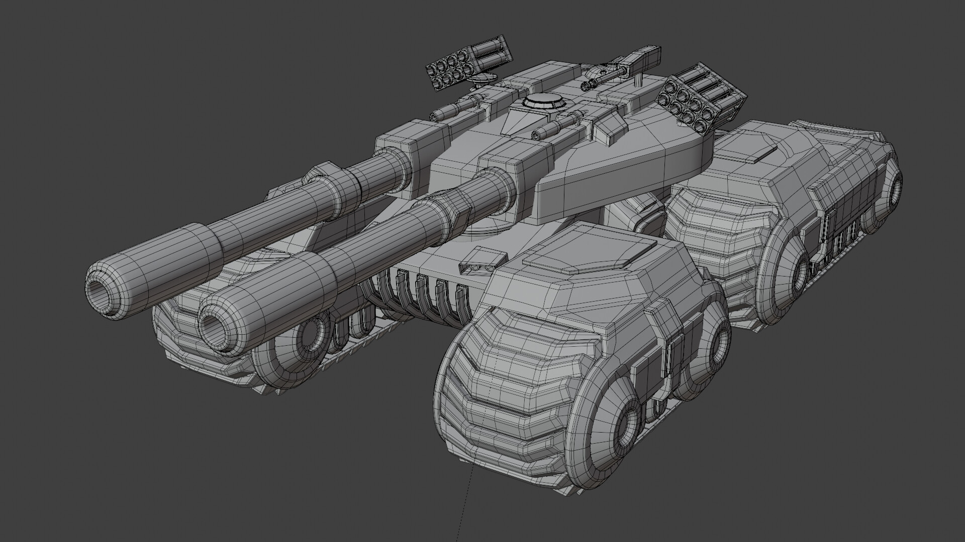 This wire frame shows the relatively low detail of the tank model.