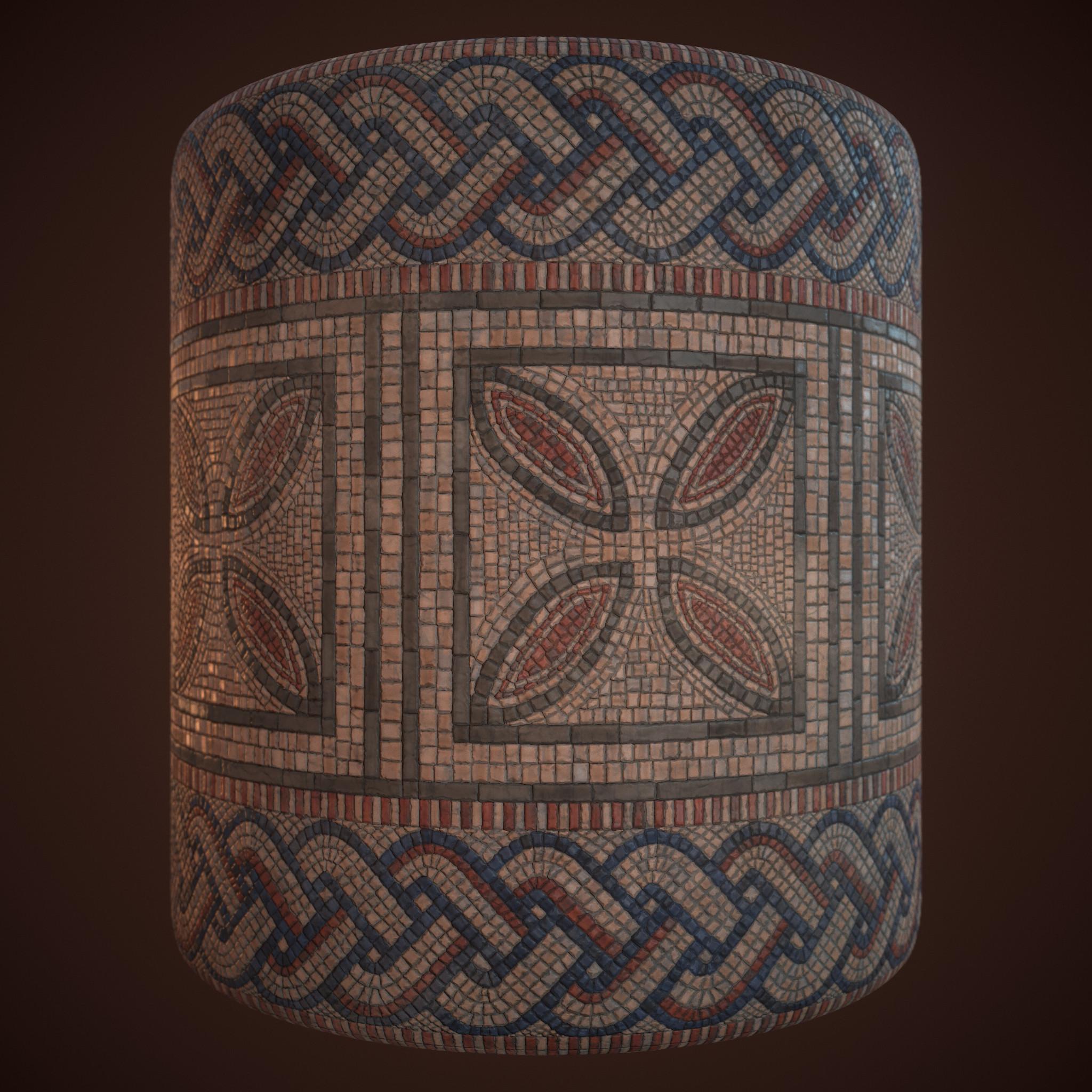 Mosaic floor cylindrical render