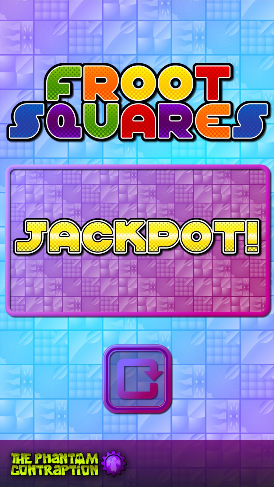 Froot Squares Portrait Screenshot: Jackpot Screen