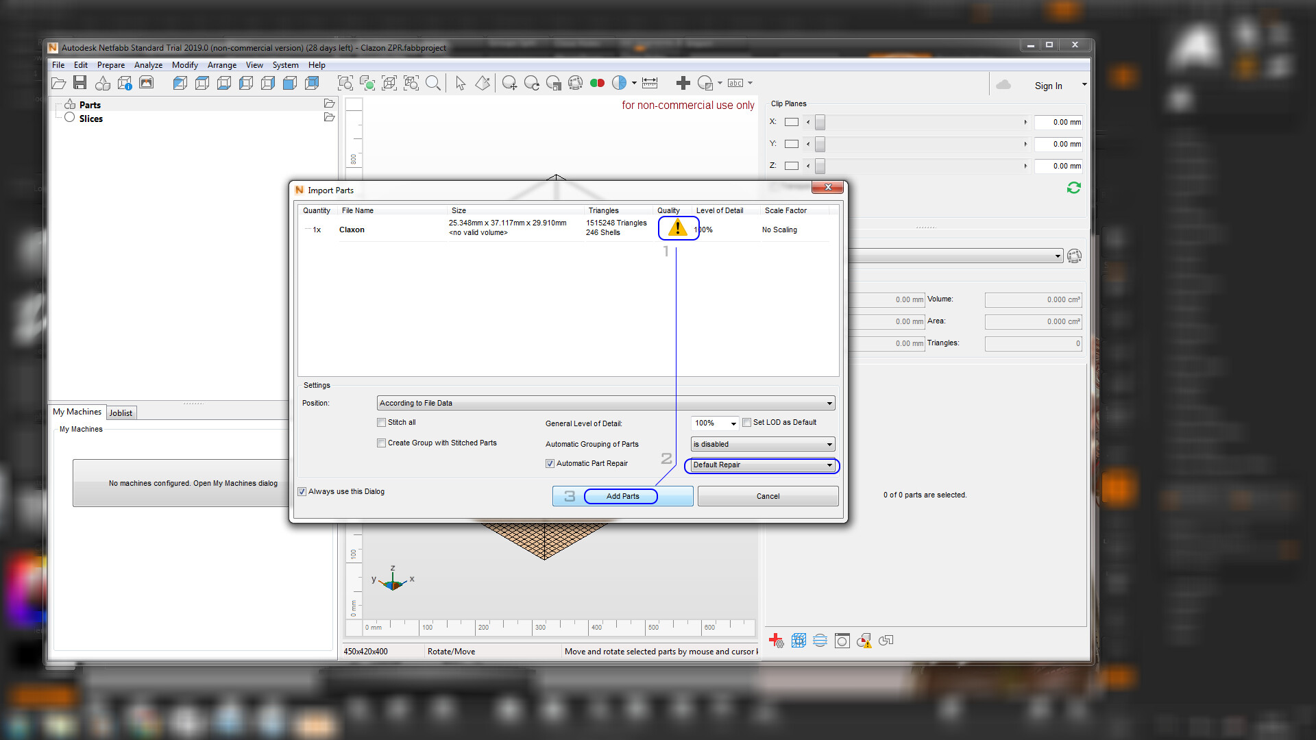 REPAIRING STL FILES: After the STL file is exported, we will repair by leaving it ready for printing on the Netfabb software. When you load the mesh, the exclamation button indicates some errors, following the order of the image.
