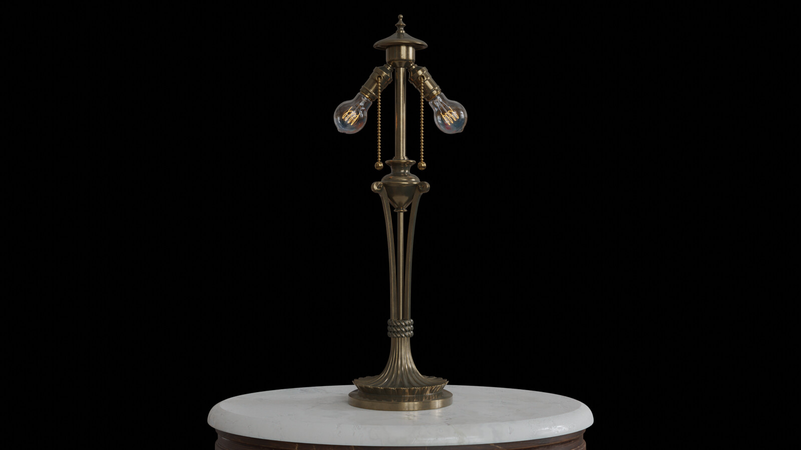 This shot shows off the detail of the brass lamp without it's shade down to the pull chains.  The light bulbs are from my antique light bulbs set found in my asset store and Artstation shop. https://artofkarlb.com/store
