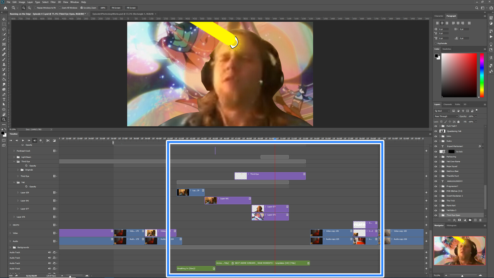 """The """"Third Eye Death"""" visual effect within Photoshop video editor"""
