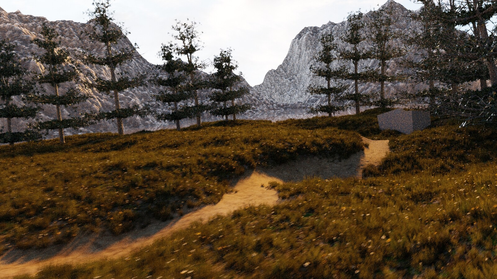 Here I added a lot. I made some trees with my own self made leave textures (from pictures). I also added some mountains using heightmaps. This worked perfectly.