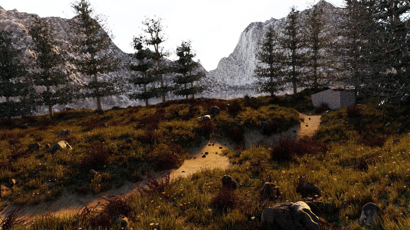 I added back the rocks and those purple-ish bushes.