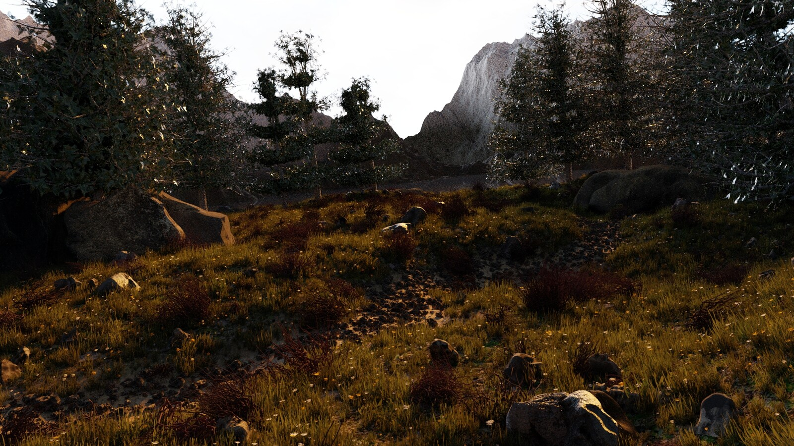I added some variation to the trees, and added large rocks/boulders