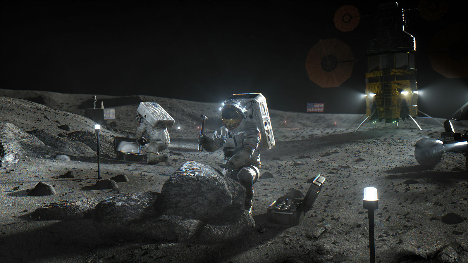 Concept image of Astronauts at a Lunar Homestead