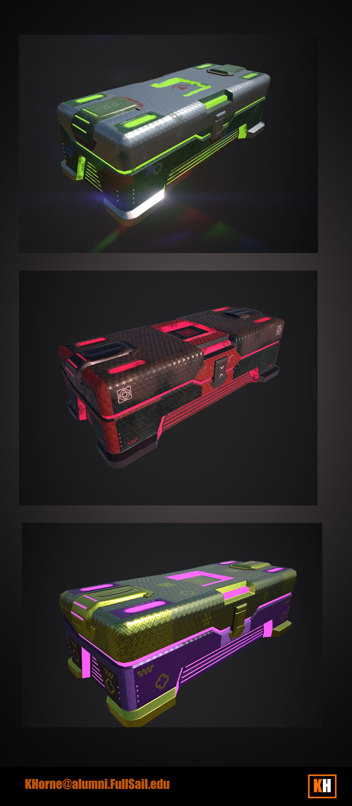 Crate material and texture variations and UV, texturing in Substance Painter. Model provided