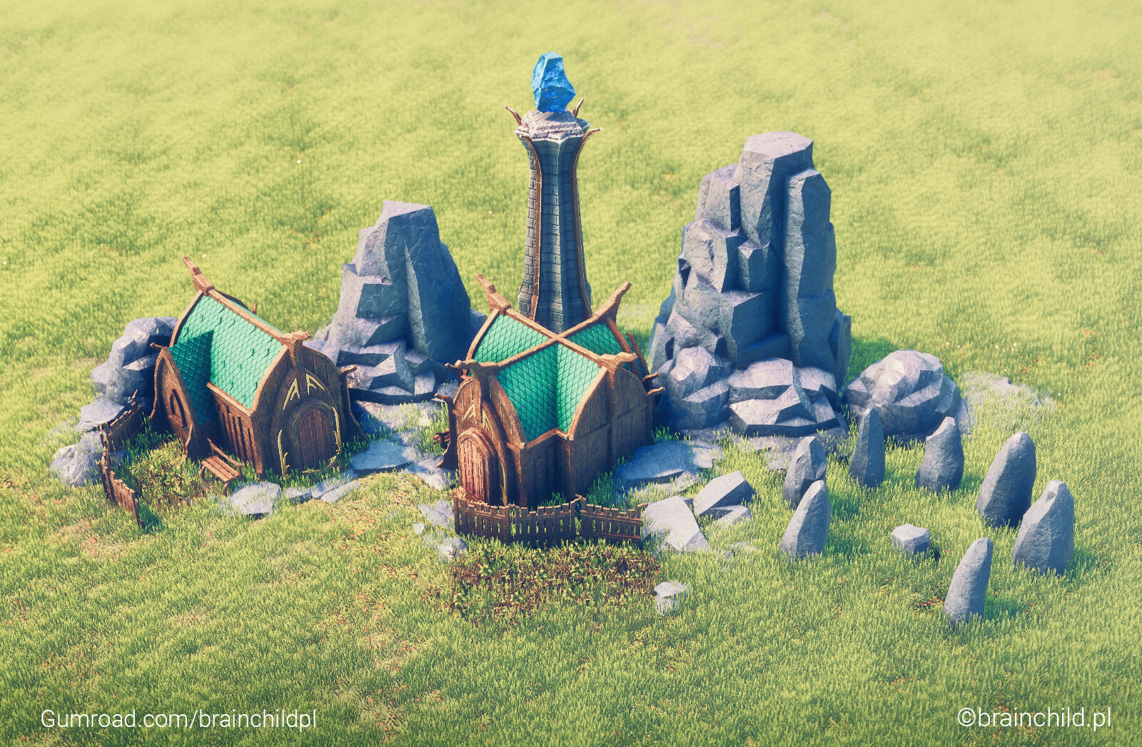 Elven village - 3d Stylised low poly (Renderd in Unity)